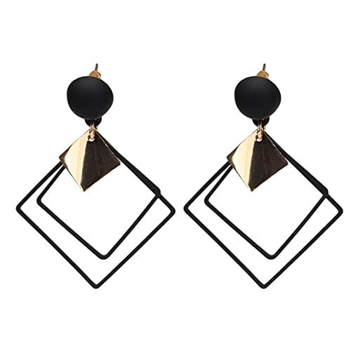 Wsadjkl aretes de Plata para Mujer,Pendientes Cuadradospara Mujer Pendientes geométricos Diseño Moderno de Barra y rectángulo Joyas de Acero Inoxidable