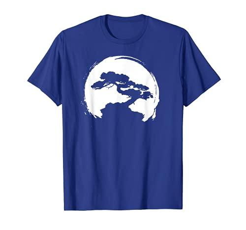 Vintage Bonsai Tree Silhouette Retro Zen Circle T-Shirt