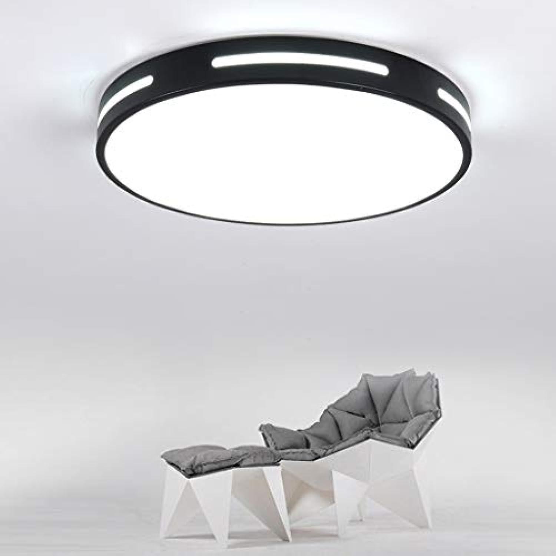 WYNA Runde einfache Acryl-LED-Deckenleuchte, 3-Farben-Dimm-Deckeneinbauleuchte für Innenbereich, europische minimalistische Lampe für das Büro,schwarz,30cm