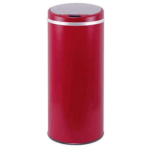 Poubelle de cuisine automatique 42L SOHO Rouge mat en acier INOX avec cerclage