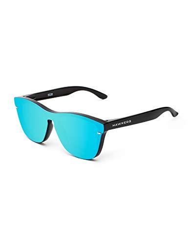 HAWKERS Gafas de Sol Venm Hybrid Clear, Hombre y Mujer, con Montura Acabado Brillo y Lente de máscara Cielo con Efecto Espejo, Protección UV400, Negro/Azul, One Size Unisex Adulto