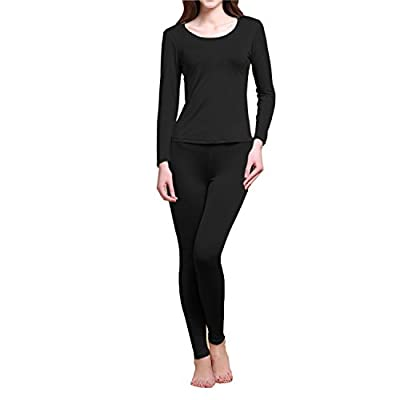 Pure Silk Knit Women Underwear Long Johns Top and Bottom Set[US6,Black]