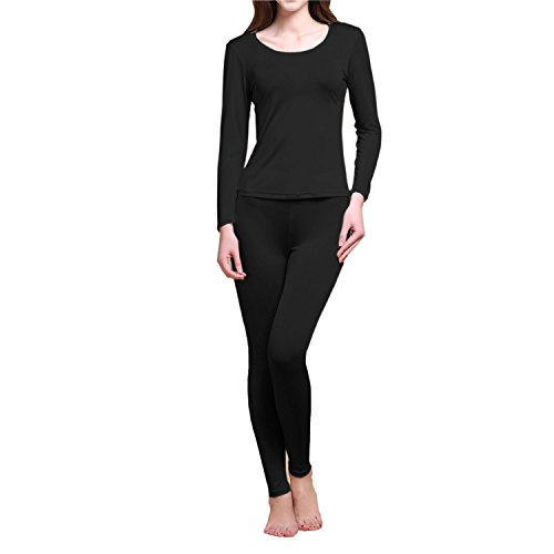 Pure Silk Knit Women Underwear Long Johns Top and Bottom Set[US10,Black]