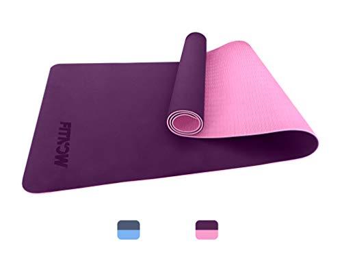 FITNOW Esterilla Yoga Antideslizante Alfombrilla de Yoga Esterilla Pilates Esterilla Deporte - con Correa de Hombro 183cm x 61cm (Violeta)
