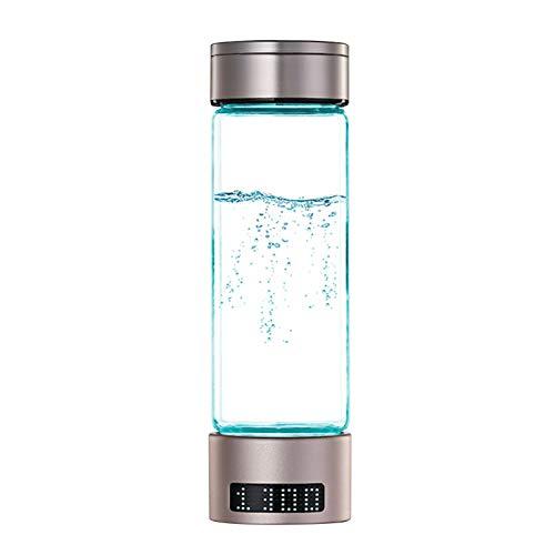 Generador de botella de agua de hidrógeno de 400ml / 13.5oz con pantalla digital hasta 1400PPB Fabricante de ionizador de agua portátil Vaso de agua transparente con tapa Jarra de agua rica en
