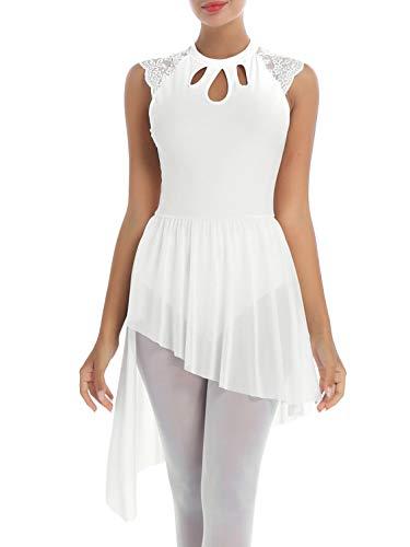 IEFIEL Vestido Danza Ballet para Mujer Chicas Vestido de Gasa Sin Mangas de Danza Gimnasia Maillot con Falda Mallas Irregular Vestido Baile Moderno Blanco D XS