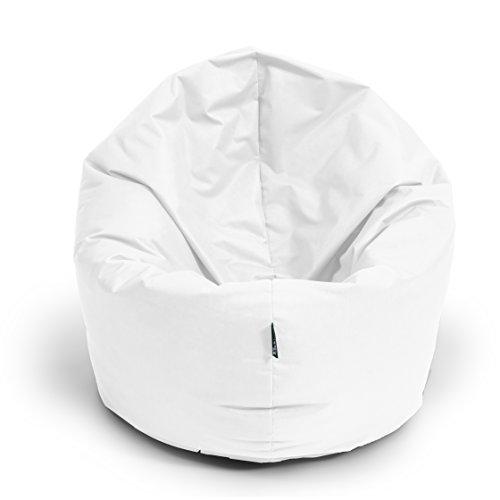 BuBiBag Sitzsack 2-in-1 Funktionen mit Füllung Sitzkissen Bodenkissen Kissen Sessel BeanBag (100 cm Durchmesser, weiß)