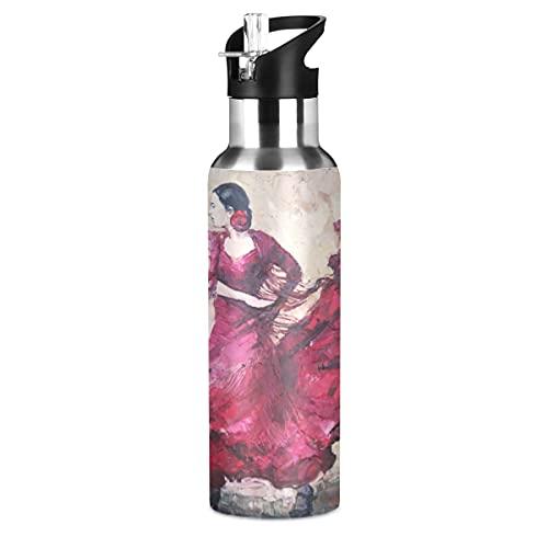ADKing Botella de agua pintura al óleo bailarín de vals 20 oz deportes a prueba de fugas botella de agua sin BPA acero inoxidable botella de vacío