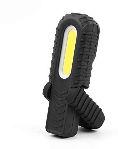 Edm 36403 Linterna Led Dos Potencias, Luz, Indicador de Bateria, Recargable, 300 Frontal, 90 Lumens Superior, Negro