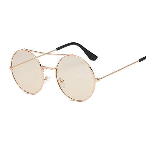 YHKF Gafas De Sol Redondas Retro para Mujer Uv400 Gafas De Sol con Marco De Metal Vintage Moda Femenina-Gold_Champagne