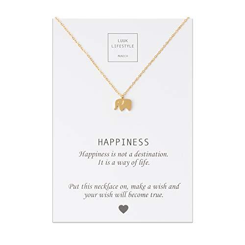 LUUK LIFESTYLE Edelstahl Halskette mit Elefanten Anhänger und Happiness Spruchkarte, Glücksbringer, Damen Schmuck, gold