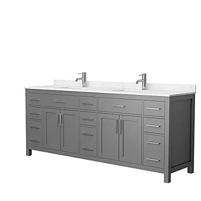 Beckett 84 Inch Double Bathroom Vanity in Dark Gray, Carrara Cultured Marble Countertop, Undermount Square Sinks, No Mirror