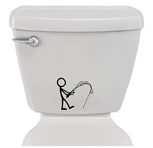 Bathroom Toilet Sticker Decal - Stick Figure Fishing - Funny Fun Home...