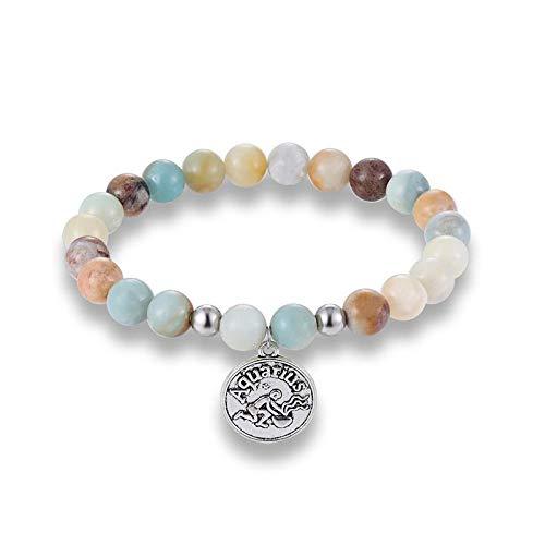 Pulsera Joyas Bracelet 12 Zodiac Signs Amazonite Beads with Constellation Horoscope Stone Beads Charm Yoga Bracelet Friendship Gift Aquari