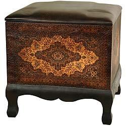 Unknown1 Handmade Old World Ottoman Brown Pattern Wood