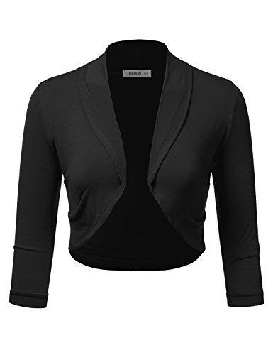 Doublju Bolero Shrug Open Front Cropped Cardigan for Women with Plus Size Black X-Large