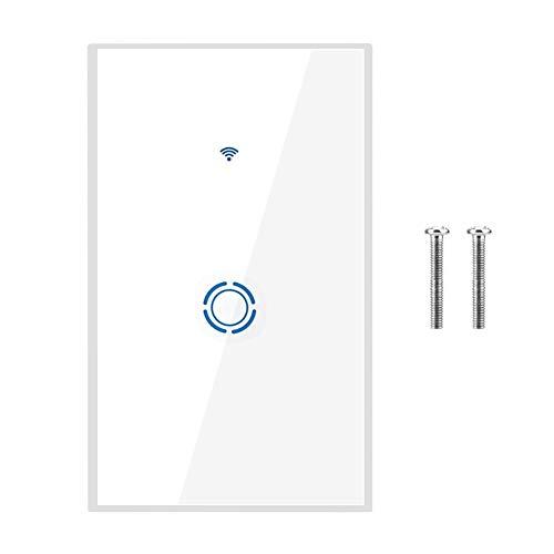 WIFI-Berührungsschalter, praktischer flexibler intelligenter Wandlichtschalter, flammhemmender Sicherheitsschutz für Schlafzimmer Badezimmer Wohnzimmer LED-Lichtlampe(1 way)