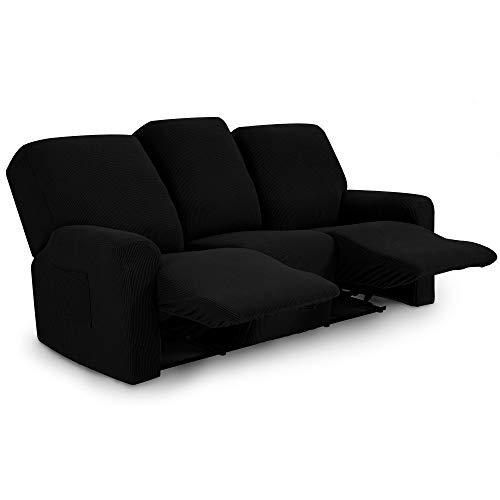 TIANSHU Funda reclinable para sofá de Dos plazas, 8 Piezas para 3 Asientos, Funda reclinable de Jacquard para sofá de 3 Cojines, Funda elástica para sofá(Sillón Relax 3 Plaza, Negro)