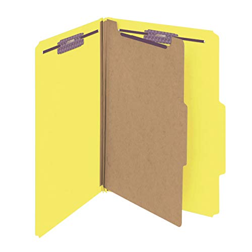 """Smead Pressboard Classification File Folder with SafeSHIELD Fasteners, 1 Divider, 2"""" Expansion, Legal Size, Yellow, 10 per Box (18734)"""