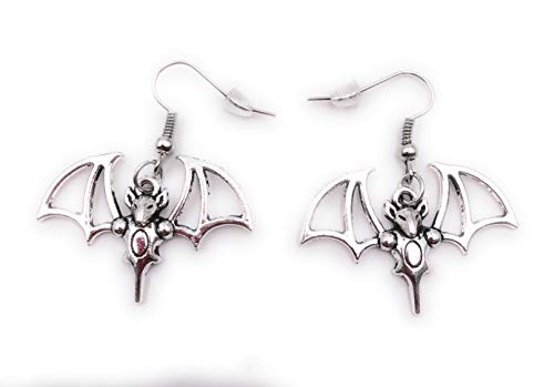 H-Customs Fledermaus Ohrringe Ohrschmuck Anhänger Silber Metall