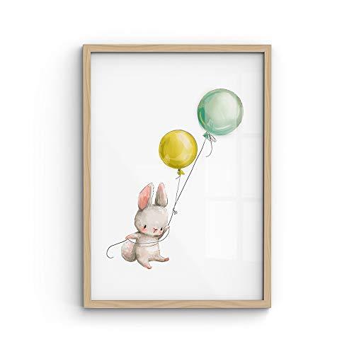 malango® A4-Poster Hase & Luftballon - viele Motive wählbar - ohne Rahmen | Kinderposter, Kids, Wanddekoration, Wanddeko, Kinderzimmer