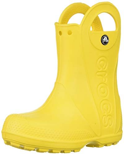 Crocs Kids' Handle It Rain Boots, Easy On for Toddlers, Boys, Girls, Lightweight and Waterproof, Yellow, 11 M US Little Kids