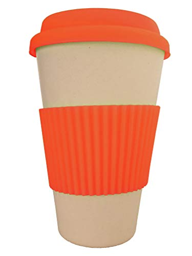 OLPRO Outdoor Leisure Products Reusable Bamboo Husk Fibre Coffee Cup Travel Mug Silicone Sleeve Plastic Free Fully Biodegradable Husk Breaktime Beaker Mug Red