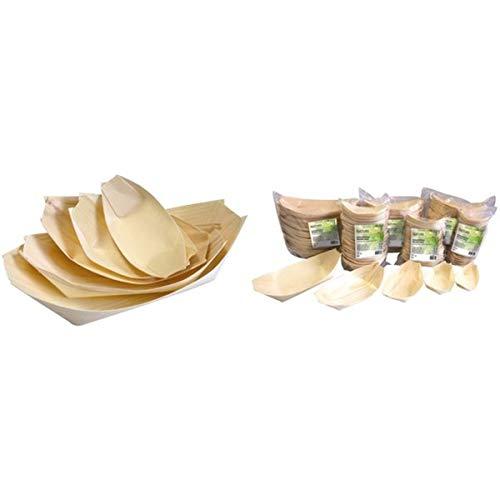 NATUREstar 100 x houten schaaltjes | Bio snackkommen voor fingerfood | 100% composteerbaar en milieuvriendelijk | houtschepjes | houtboten | houten schalen | party servies | natuurproduct (M (14 x 8 cm))
