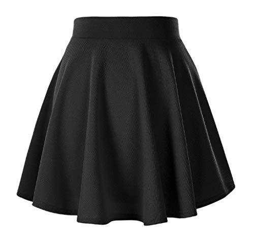 Afibi Girls Casual Mini Stretch Waist Flared Plain Pleated Skater Skirt (Large, Black)