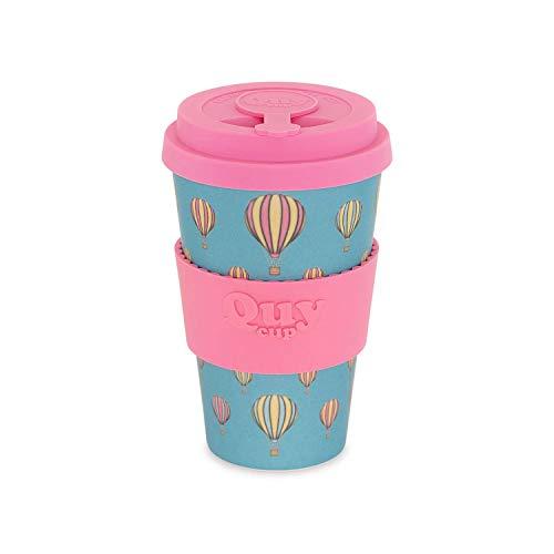 QUY CUP Taza de Café de Bambú - 400ml. Taza Ecológica Reutilizable para Café. Exclusivo Diseño Italiano. Hecho de Fibra Natural. Libre de BPA
