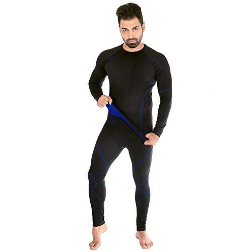 Black Snake® Caballeros Ropa Interior Térmica neverest Seamless Base Layer Underwear Set - negro/azul - XL/XXL