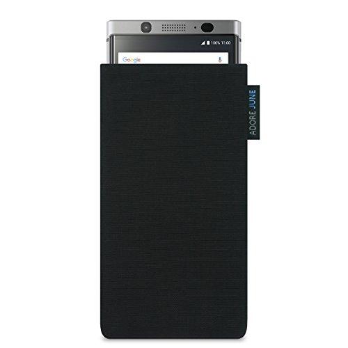 Adore June Classic Schwarz Tasche für BlackBerry KEYone Handytasche aus beständigem Cordura Stoff | Robustes Zubehör mit Bildschirm Reinigungs-Effekt | Made in Europe