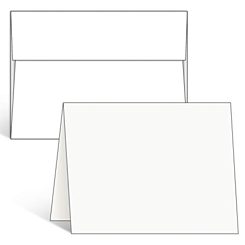 Blank White Cards and Envelopes 100 Pack, Ohuhu 5 x 7 Heavyweight Folded Cardstock and A7 Envelopes for DIY Greeting Card, Wedding, Birthday, Invitations, Thank You Cards & All Occasion