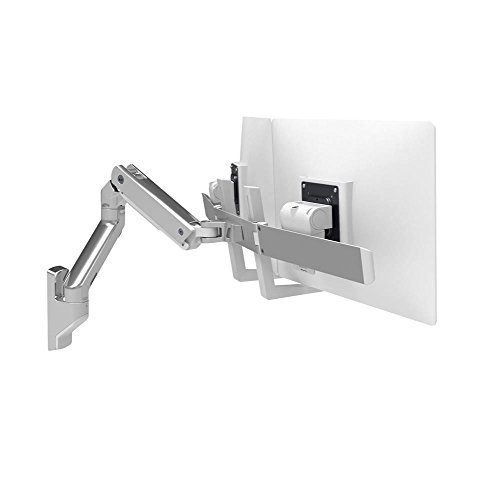 Ergotron 45-479-026 HX Wall Mount Dual Monitor Arm in Polished Aluminum