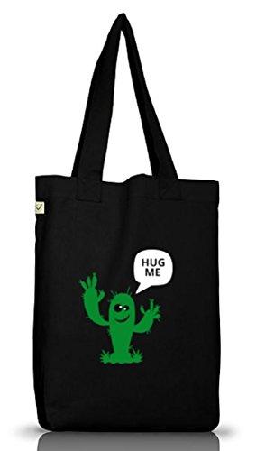 Shirtstreet24, Hug Me Kaktus, Jutebeutel Stoff Tasche Earth Positive (ONE SIZE), Größe: onesize,Black