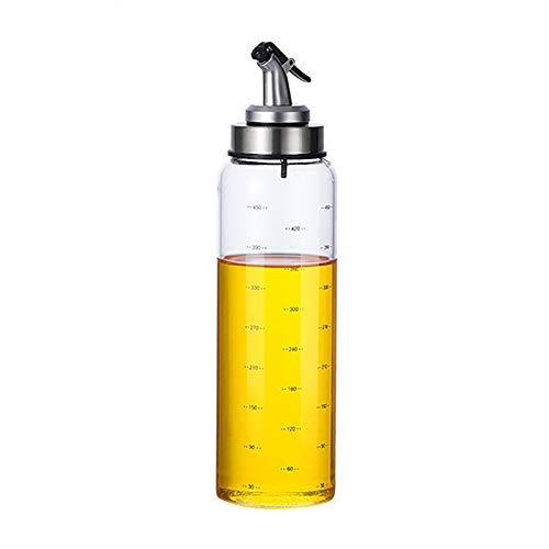 MXSM Dispensador de Aceite de Oliva, Juego de Dispensador de Aceite y Vinagre, Botellas de Vidrio Transparente, Botella de Aceite, Fácil Recarga y Limpieza, Sin Goteo,500ml