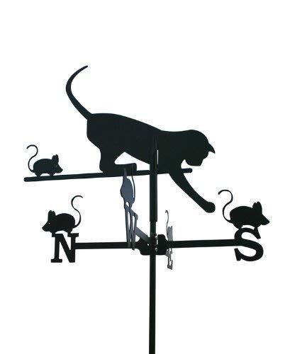 Svenska Wetterfahne Windfahne Windspiel Katze schwarz aus Stahl klein Höhe 72 cm
