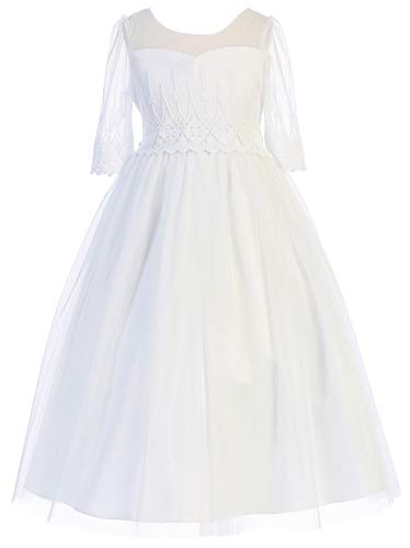 Big Girls Graceful Half Sleeve First Communion Pageant Wedding Flower Girl Dress White 10 (4KD62)