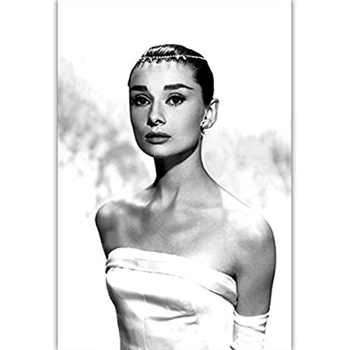 Czarno-biała sztuka fotograficzna Audrey Hepburn obraz na płótnie Nordic plakaty drukuj Salon Home Decor C10 50 × 70 CM bez ramki