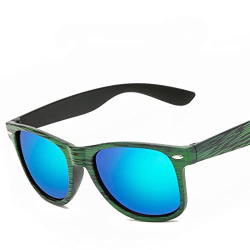 Secuos Gafas De Sol De Grano De Madera De Moda para Mujer, Lentes Coloridas, Gafas Antirradiación para Exteriores, Gafas De Sol Reflectantes para Hombre, Uv400 Verde