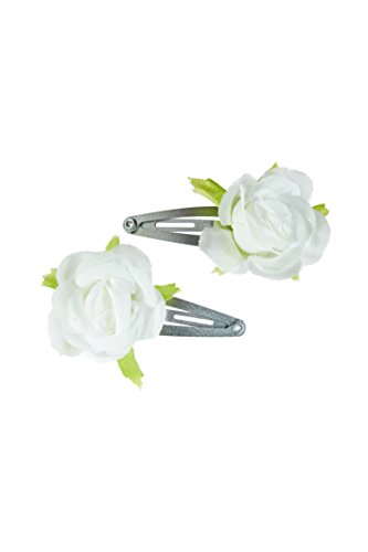 NAME IT ♥ Kinder Mädchen Set Haarspangen Haarklammen 2 Stück ROSEN in anthrazit, weiß, rot (Weiße Rosen)