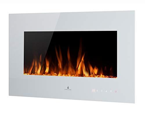 Noble Flame Vegas 770 Weiß - Elektrokamin Wandkamin Kaminofen Kamin - Wandmontage Fernbedienung - Verschiedene Breiten