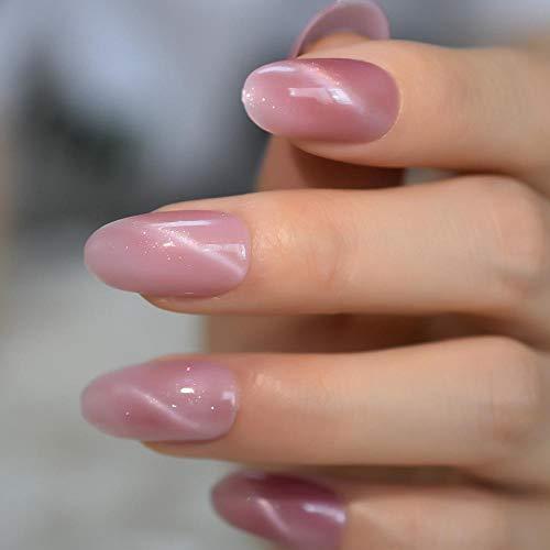 Wangguifu Fantasy Pink Cat Eye False Nails Medium Oval Top Milky Way Hand Painted Artificial Acrylic Nail Art Tips Pre-Conçu 24Pcs Nails
