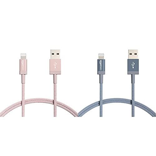 Amazon Basics Cable Lightning a USB-A de nailon trenzado, cargador certificado por MFi, color oro rosa, 91,2cm+ Cable Lightning a USB-A de nailon trenzado