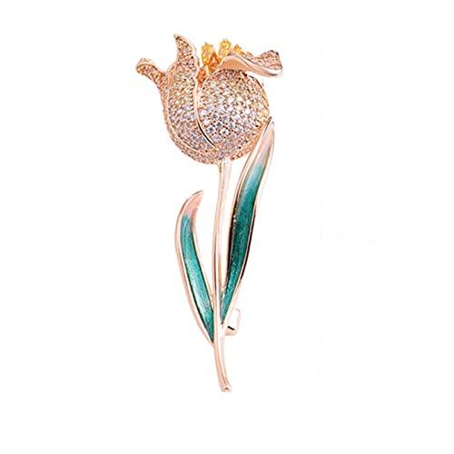 Elegante broche de flores de cristal Hermosos broches de tulipán AAA Zirconia cúbica Esmalte de alta calidad Pin de hojas verdes