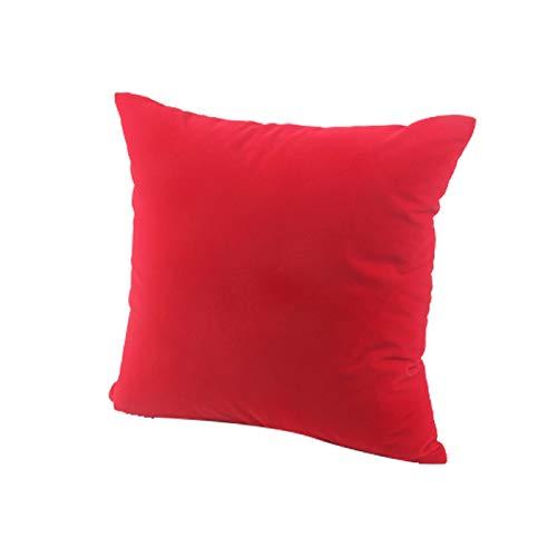 MorNon 2 Piezas Funda De Cojín De Algodón Suave para Decoración del Hogar Funda De Cojín De Algodón Suave De Color Liso Sofá Decoración Funda De Almohada Cuadrada Rojo