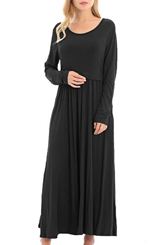 Smallshow Women's Long Sleeve Maxi Nursing Dress Maternity Breastfeeding Clothes Large Black
