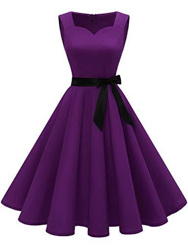 1950er Ärmellos Vintage Retro Cocktailkleid V-Ausschnitt Abendkleid Grape S