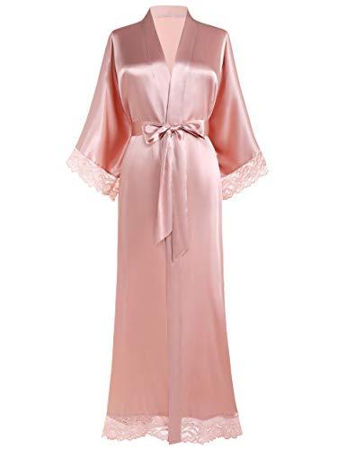 BABEYOND Damen Morgenmantel Lang Kurz Einfarbiger Bademantel Spitzen Ärmel Brautjungfer Kimono Satin Nachtwäsche Damen Sommer Robe Strickjacke Reine Farbe Schlafmantel (Pink)