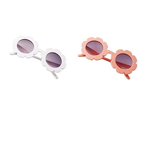 Fenteer 2pcs Lunettes de Soleil Designs Classique pour Garçons et Filles,Haute Protection Pr Enfants Vacances Plage Voyage